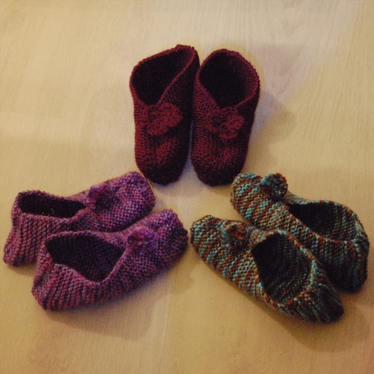 Knitted slippers in three colours