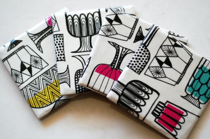 Marimekko coasters Kippis Pattern, set of 4. $25.00, via Etsy.