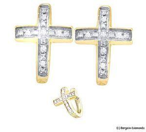 Diamond cross earrings | MJ Huggie Diamond Cross Earrings Men Ladies Hip Hop 05 Carat 925 ...