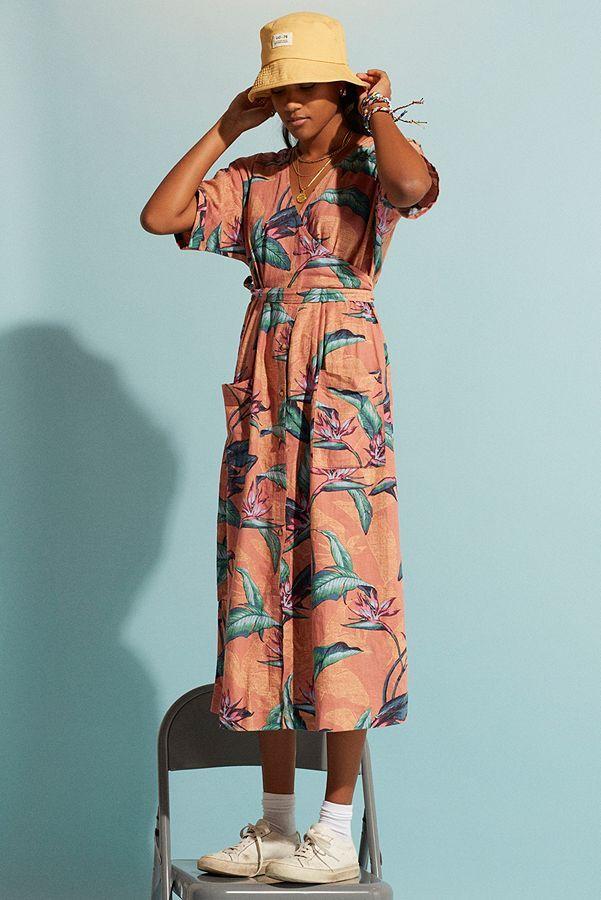 Uo Isabelle Hawaiian Print Linen Midi Dress Hawaiian Print Dress Hawaiian Print Printed Linen
