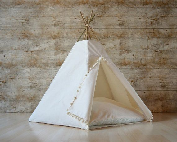 Cat bed Cat teepee Dog teepee with cushion by HipTepeeHooray