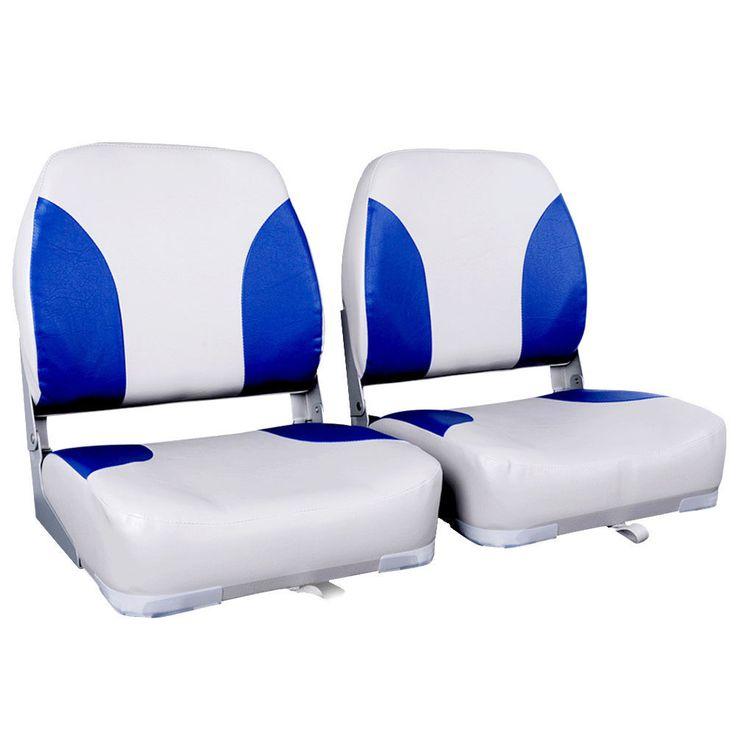 2 x Swivel Folding Marine Boat Seats White Blue
