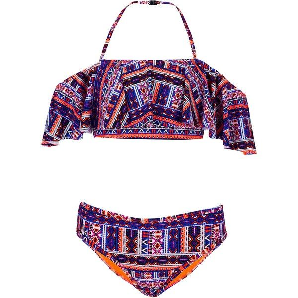 Teens Blue Aztec Print Bardot Neck Bikini ($21) ❤ liked on Polyvore featuring swimwear, bikinis, blue pattern, aztec print bikinis, halter neck bikini top, blue high waisted bikini, halter tankini tops and high-waisted bikinis