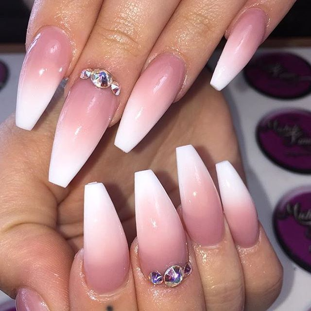 pink and white acrylic ombre nails - Google Search