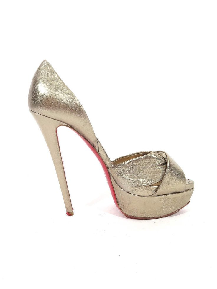 Christian Louboutin | Metallic d'Orsay Leather Pumps in gold www.sabrinascloset.com