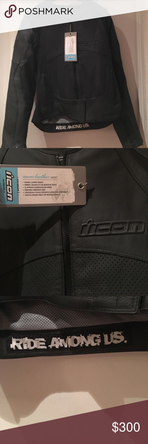 ICON Motorcycle Jacket Size large, features removable inner lining, elbow and shoulder pads. BRAND NEW! NEW USED! Weighs about 6 lbs. Feel free to make an offer! Let me know if you have any questions. ICON Jackets & Coats