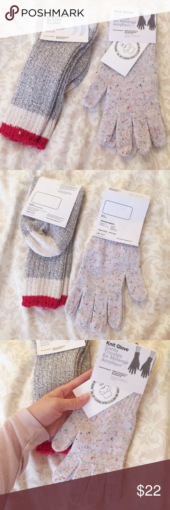American Apparel bundle❤️ Bundle includes: Unisex Acrylic Blend Knit Glove(White Confetti, one size), Boot sock(Heather Grey, one size). All authentic American Apparel, All new with the tags. American Apparel Accessories Gloves & Mittens
