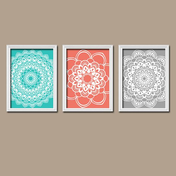other colors available... Turquoise Coral Gray Bedroom Wall Art Bathroom Wall by TRMdesign