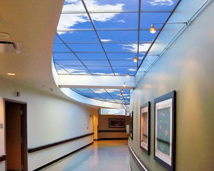 Community North Hospital in Indianapolis designs a restorative biophilic illusion along an entire corridor with Luminous SkyCeilings.