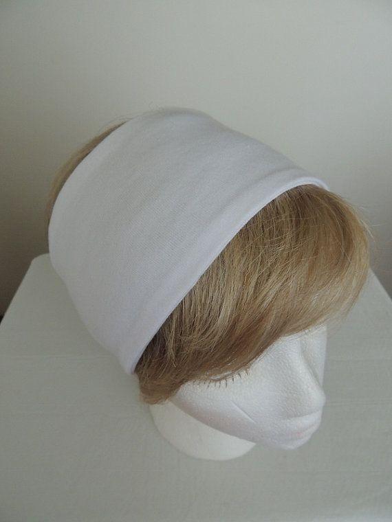 White Jersey Headband White Ear Warmer Wide by MaAndPaPeddle