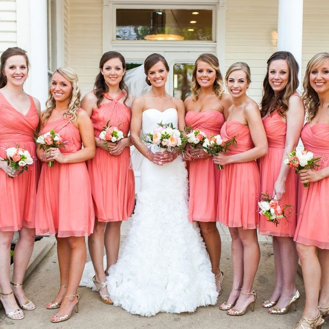 Short Pink Bridesmaid Dresses // Nicole Ryan Photography // http://www.theknot.com/weddings/album/a-romantic-pink-wedding-in-austin-tx-138436