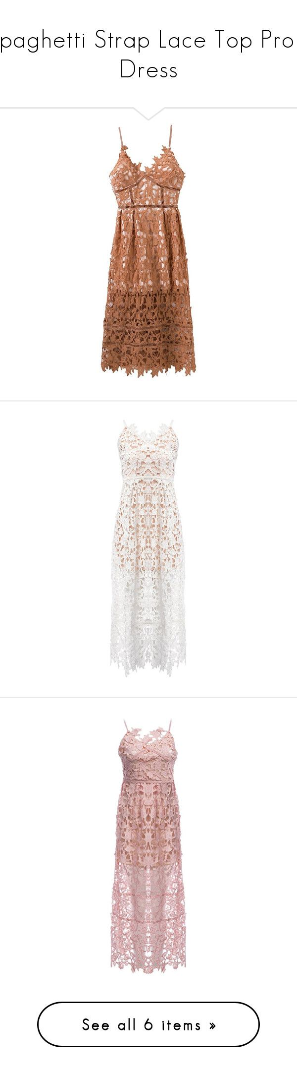 """""""Spaghetti Strap Lace Top Prom Dress"""" by rosegal-official ❤ liked on Polyvore featuring dresses, rosegal, lace slip dresses, brown lace dress, nude lace dress, nude dress, lace cocktail dresses, lacy white dress, lace dress and lace prom dresses"""