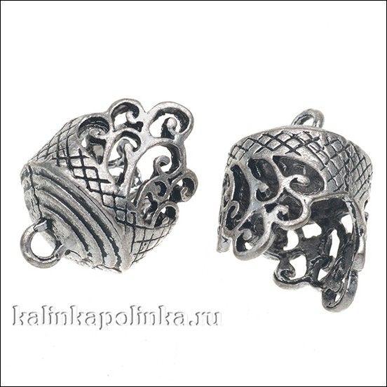 Концевик для шнуров, цвет античное серебро, р-р 25х18мм, р-р отв-я 14мм, цена за 2шт.