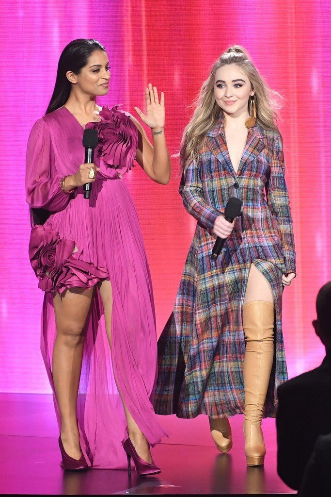 "2017 Sabrina Carpenter and Lilly Singh introduce Shawn Mendes who performs ""Nothing Holding Me Back"" at the American Music Awards in the Microsoft Theater @ Los Angeles, CA"