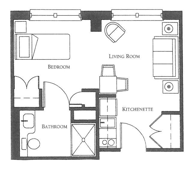 Studio apartment design senior apartments brighton ma for Garage studio apartment plans