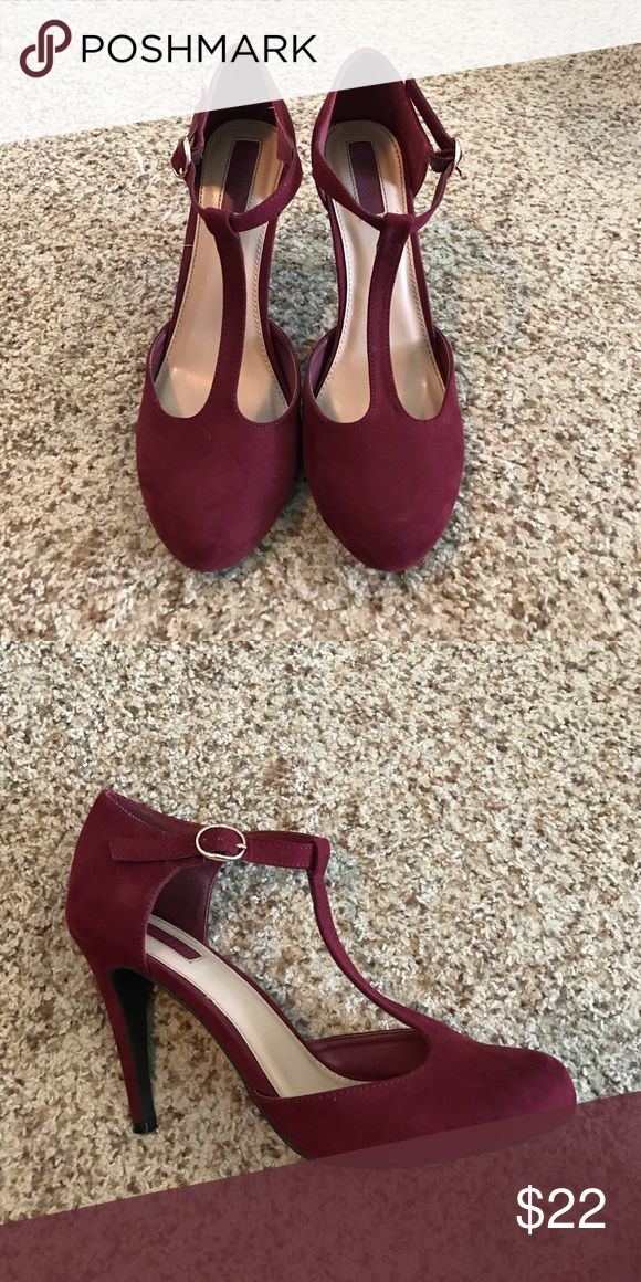 Red strappy high heels Maroon red strappy high heels. So gorgeous! Forever 21 Shoes Heels