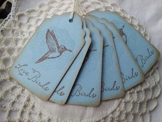 Love Birds Hummingbird Wedding Tags Blue Set Of 6 Wedding Www