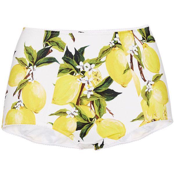 Dolce & Gabbana Printed Lemon High Waisted Bikini Bottoms (4 895 ZAR) ❤ liked on Polyvore featuring swimwear, bikinis, dolce gabbana bikini, highwaisted bikini bottoms, high waisted boy shorts swimwear, boy shorts swimwear and high rise bikini bottom