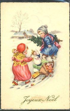 delcampe enfantys | KV076 Noël Enfants Luge Neige Children Sled Sledge Toys Doll Snow ...