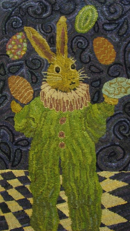 Not Knitting related - BUT - it is just too cute and I just had to put this somewhere - it is a hand made wool rug (latch hook or something like that...)