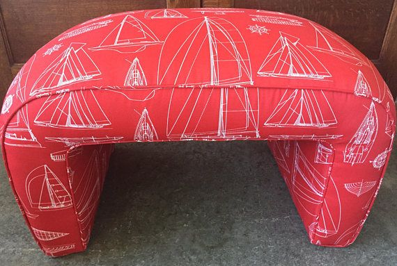 Newly Upholstered Nautical Sailboat Red Ottoman