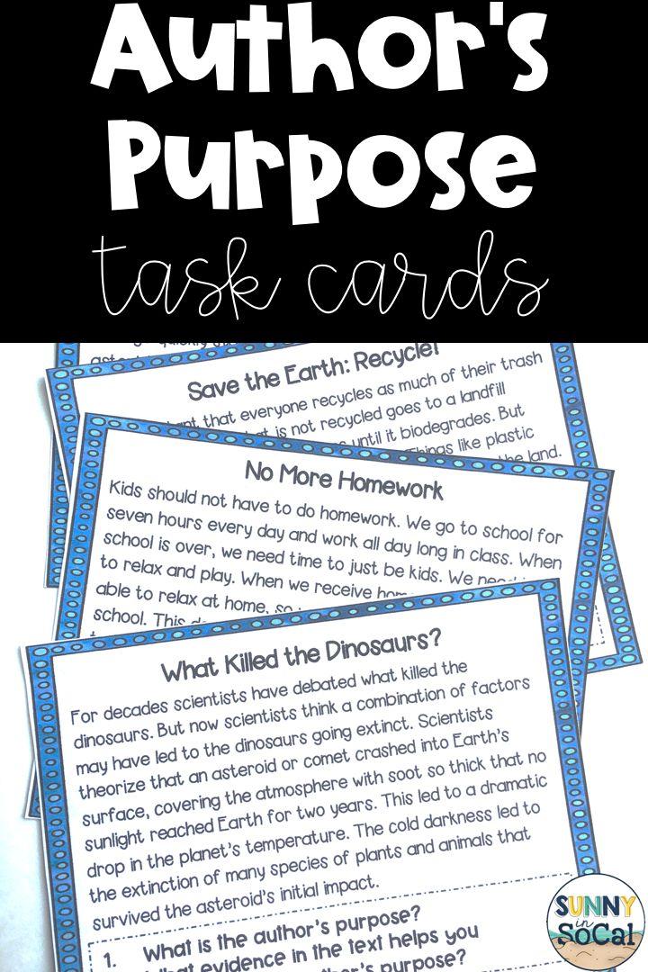 Authors purpose task cards in 2020 authors purpose