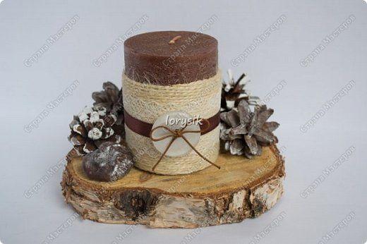 Декор предметов Моделирование конструирование Новогодние свечи Воск парафин Шпагат фото 1