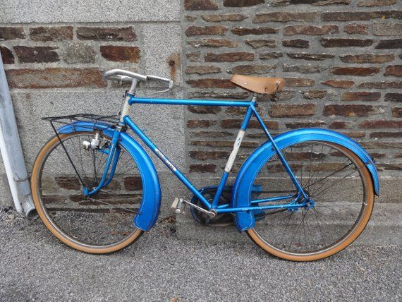 Vintage French Motobecane Blue Cruiser Gentlemen S Bicycle Pedal Brake Good Original Condition Cycling Bike Circa 1960 S English Shop Bicycle Bike Bicycle Pedals