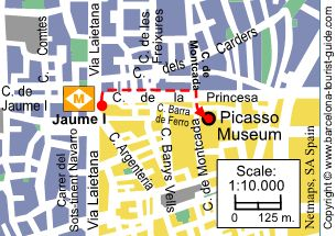 Picasso Museum to the nearest metro stop.