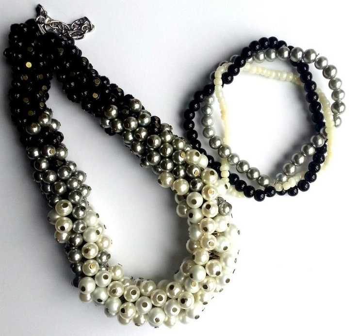 """""""Simplicity"""" handmade set created from black, silver and white pearls."""