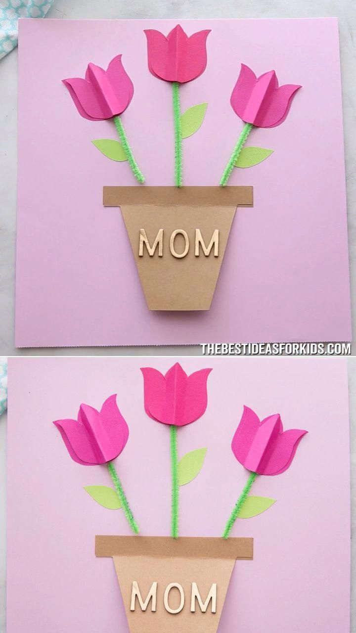 PAPER TULIP CARD         Tulips card, Mothers day crafts
