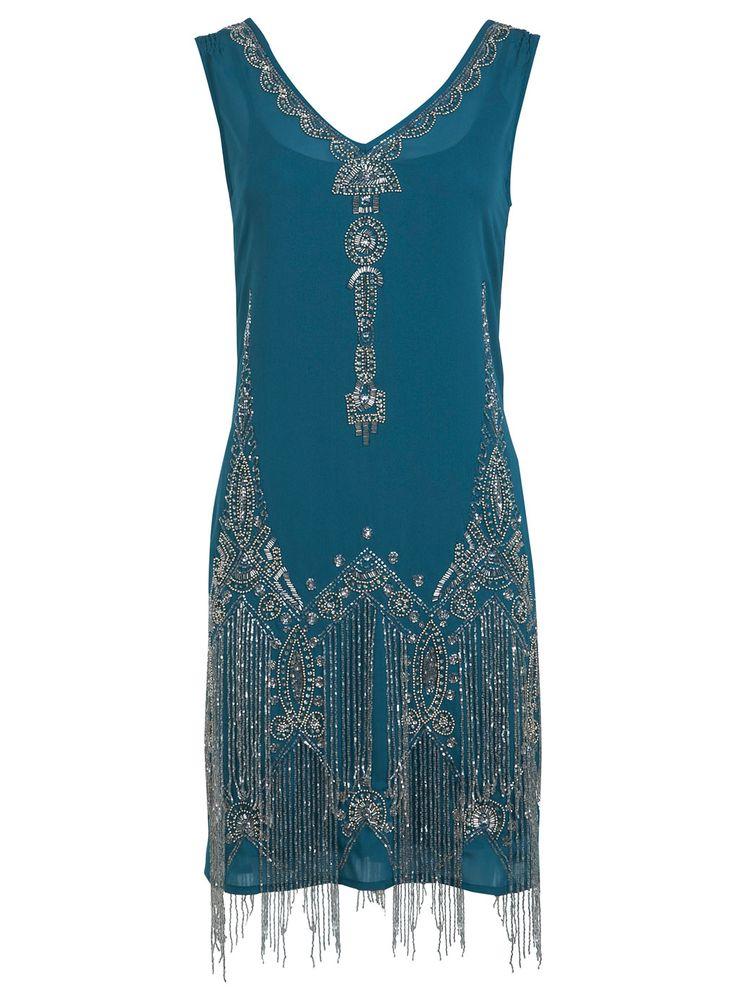 Miss Selfridge Teal Green Embellished Beaded Gatsby Flapper Dress 6 8 16 18 Rare Gatsby And