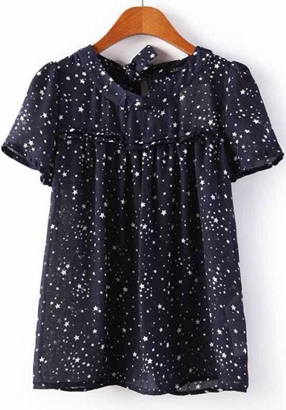 Multicolor Star Print Short Sleeve Wrap Chiffon Blouse