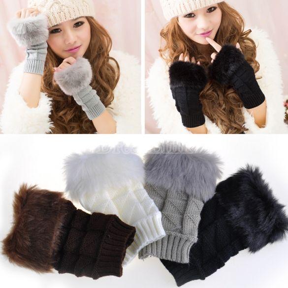 Warm Fur Gloves Knitted Fingerless Gloves