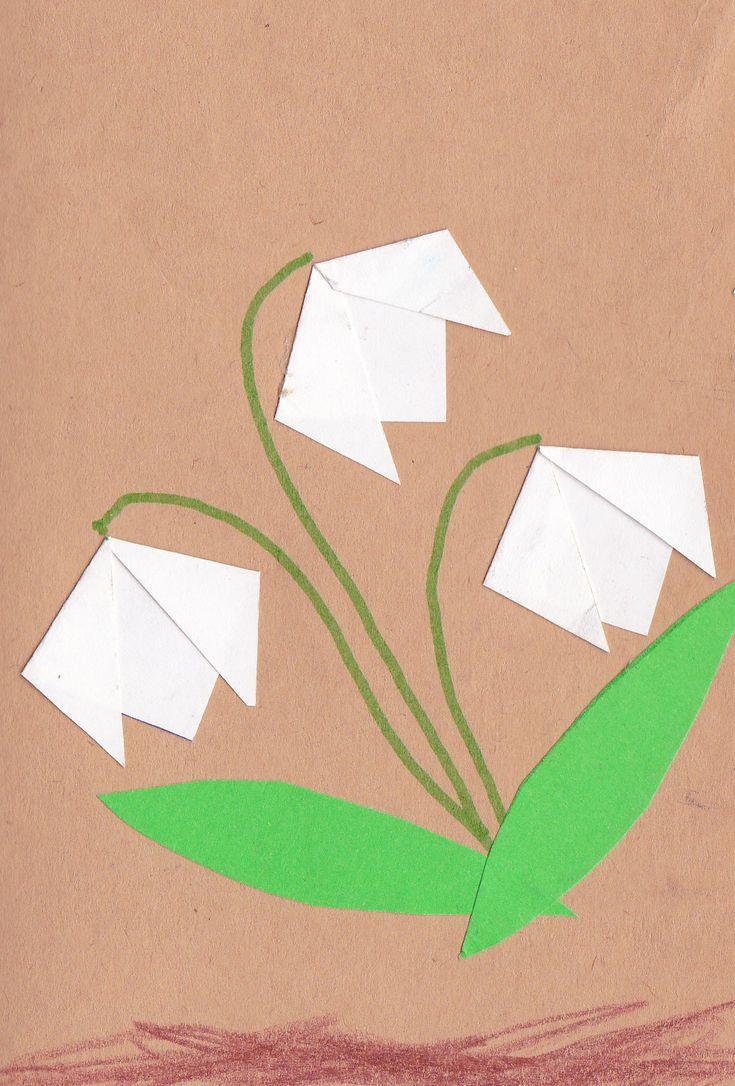 Hóvirág hajtogatás papírból.