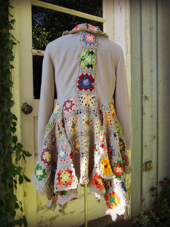 Med. Granny Square Sweater Coat// Upcycled// Gray by emmevielle