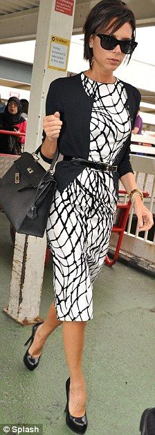 Victoria Beckham: graphic black & white sheath dress with belted cardigan