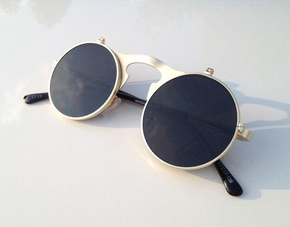 Retro Round Mens Sunglasses Goggles - Handmade Aviator Vintage Womens Sunglasses Fashion Eyewear