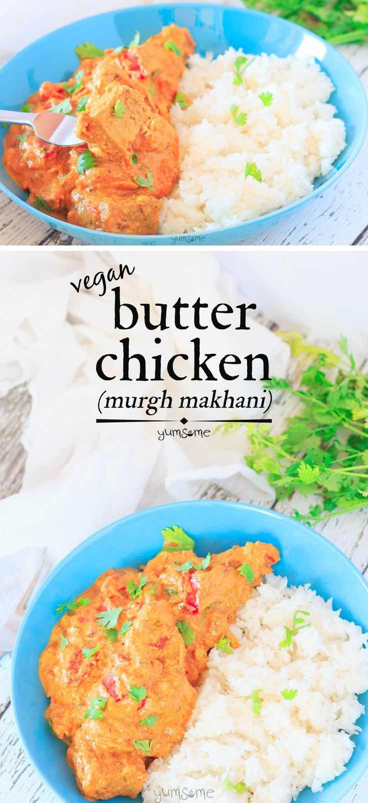 This vegan butter chicken is a delicious lightly-spiced combination of tangy yoghurt and sweet tomatoes, with butter and cashew cream to add a decadent richness. | yumsome.com via @yums0me