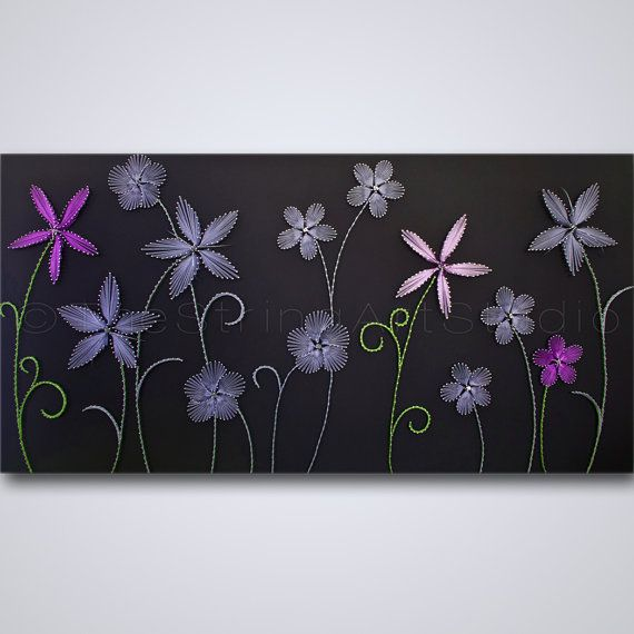 """String art """"Purple Exceptions"""". String art flowers. Strings and nails art."""