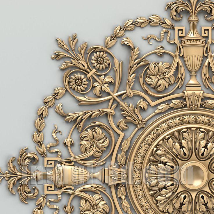 3D-model of decorative rosette for gypsum making (detail) for CNC carver (STL). Detail