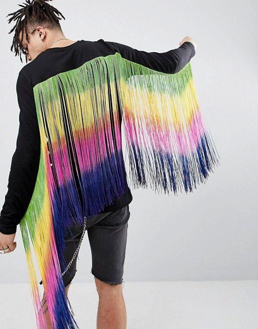 fdf6167e1f875 DESIGN festival longline long sleeve t-shirt with extreme rainbow fringe  back in 2019 | Cory Costumes - 2018 | Punk jackets, Fringe jacket, Shirts