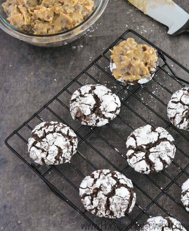 Frosting german chocolate cookies with homemade german chocolate frosting. #goodcookcom #goodcookkitchenexprt
