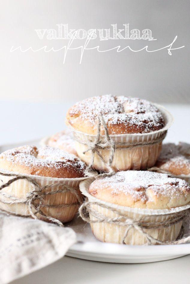 white chocolate muffins. Yum!! shared by http://www.veggiefocus.com