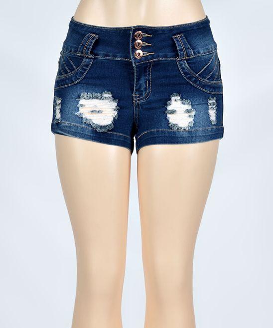 Medium Fade Shell-Pocket Distressed Denim Shorts - Plus