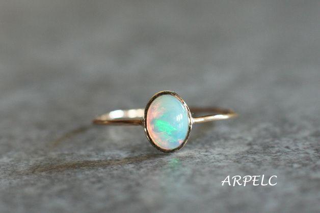 Naturalny Opal, złoty pierścionek z opalem - arpelc - Pierścionki złote