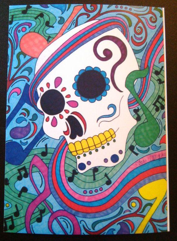 Auguri musica Sugar Skull 5 x 7 pollici giorno della musica d'arte morto Dia De Los Muertos alternativa note arcobaleno messicano ispirato opere d'arte