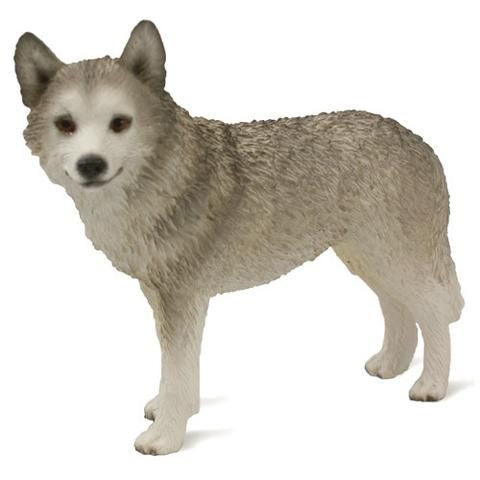 Dog Figurine Husky Gray White Brown Eyes Standard Siberian Husky