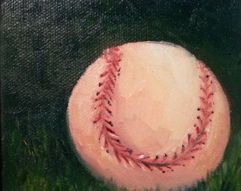 Baseball Painting Original Oil Painting Small by HeartHomes