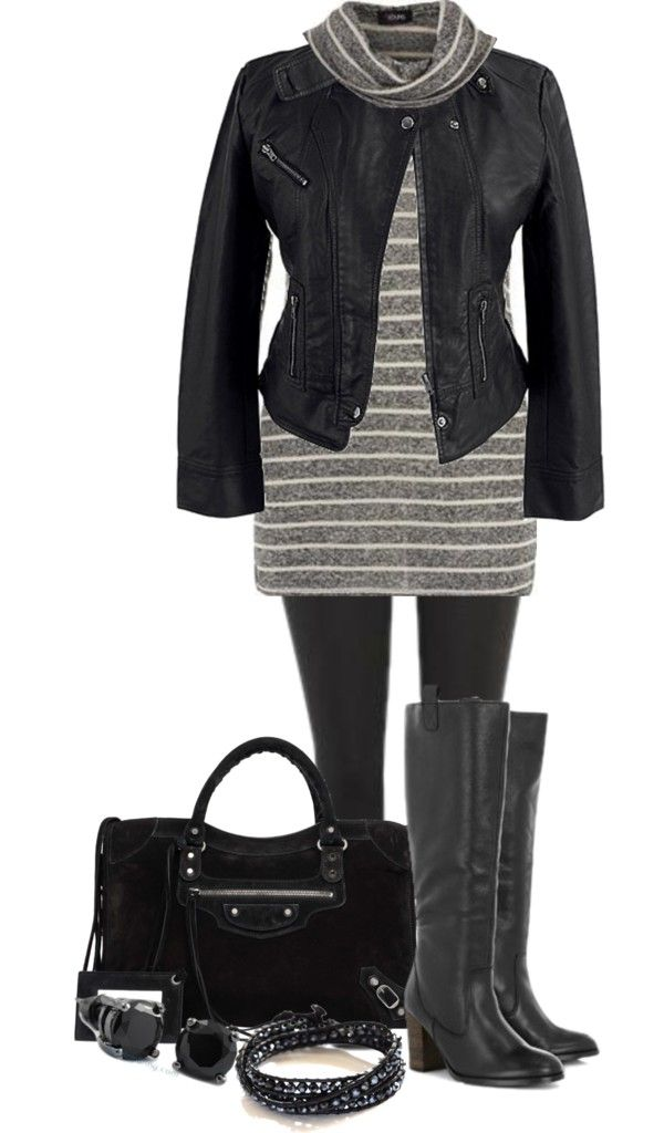 """""""Black & Grey - Plus Size"""" by alexawebb ❤ liked on Polyvore..it would be cute with a jean jacket"""